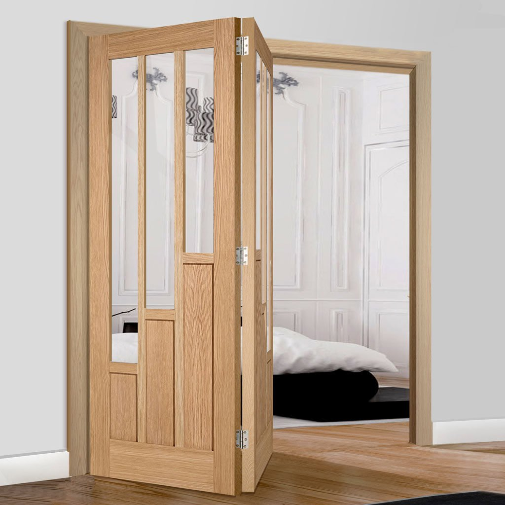 Two Folding Doors & Frame Kit - Coventry Contemporary Oak 2+0 - Clear Glass - Unfinished