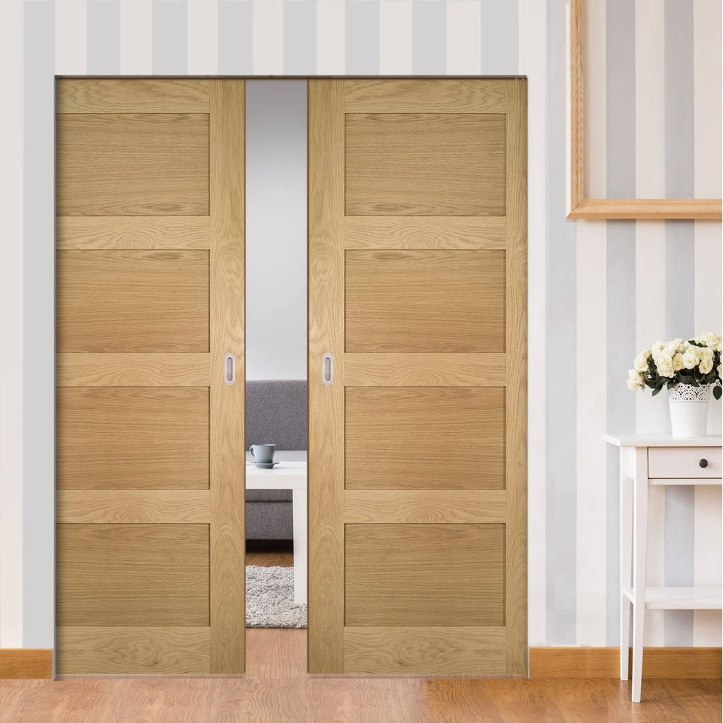 Coventry Shaker Style Oak Absolute Evokit Double Pocket Doors - Unfinished