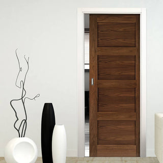Image: Coventry Walnut Shaker Style Single Evokit Pocket Door - Prefinished