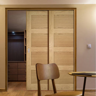 Image: Coventry Shaker Style Oak Veneer Staffetta Twin Telescopic Pocket Doors - Unfinished