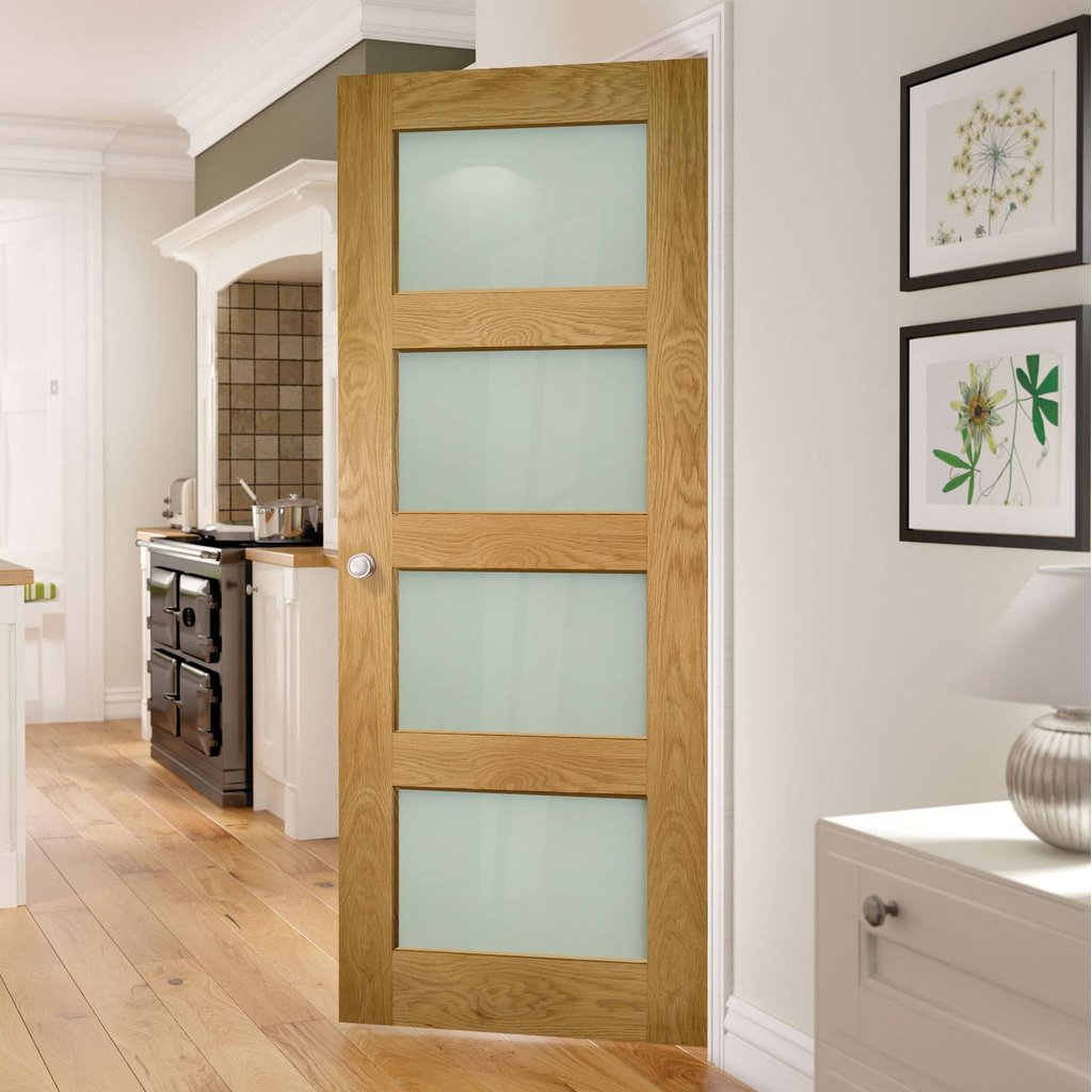 Deanta Coventry Shaker Style Oak Door with Frosted Safety Glass, Unfinished