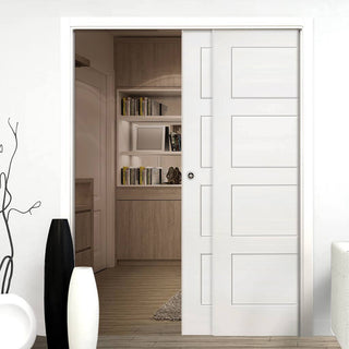 Image: Coventry Shaker Staffetta Twin Telescopic Pocket Doors - White Primed