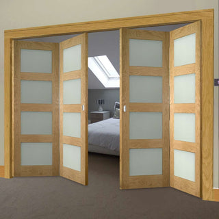 Image: Four Folding Doors & Frame Kit - Coventry Shaker Oak 2+2 - Frosted Glass - Unfinished