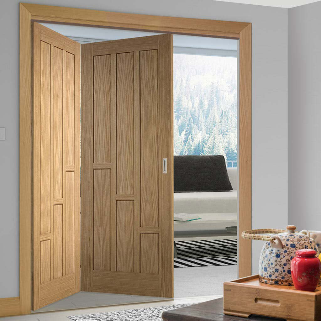 Two Folding Doors & Frame Kit - Coventry Contemporary Panel Oak 2+0 - Unfinished