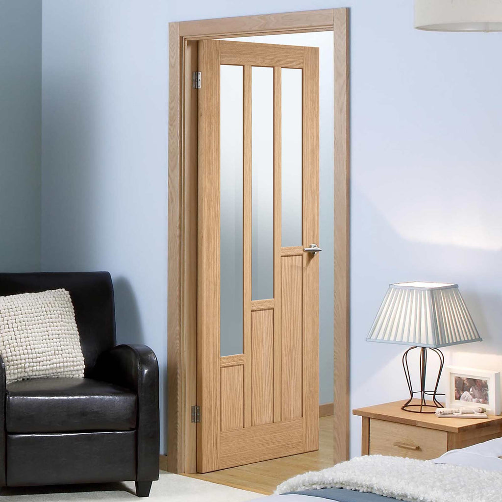 Door and Frame Kit - Coventry Contemporary Oak Door - Clear Glass