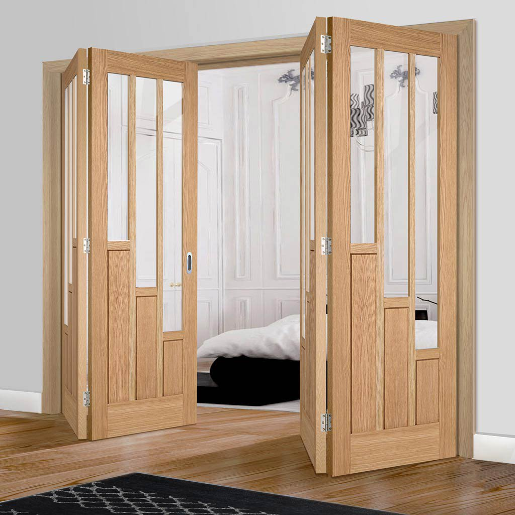 Four Folding Doors & Frame Kit - Coventry Contemporary Oak 2+2 - Clear Glass - Unfinished