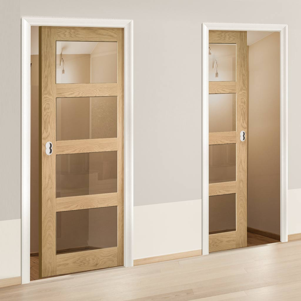 Coventry Shaker Style Oak Unico Evo Pocket Doors - Clear Glass - Unfinished