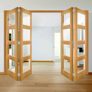 Image: Four Folding Doors & Frame Kit - Coventry Shaker Oak 2+2 - Clear Glass - Unfinished
