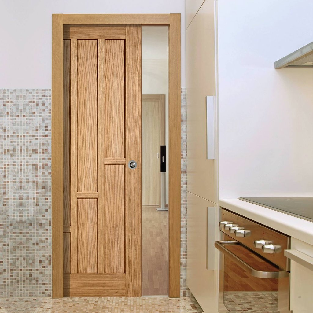 Coventry Contemporary Oak Panel Single Evokit Pocket Door