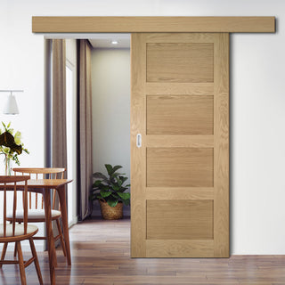Image: Single Sliding Door & Wall Track - Coventry Oak Door - Prefinished