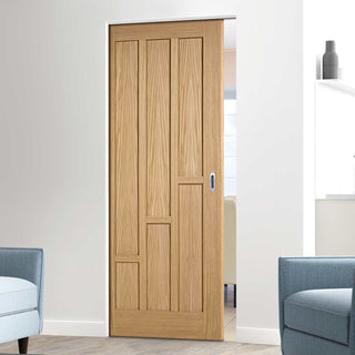 Image: Coventry Contemporary Oak Panel Absolute Evokit Single Pocket Doors