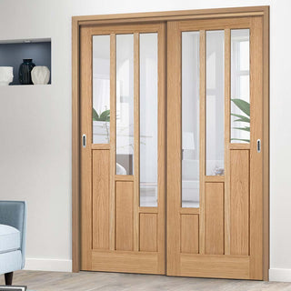 Image: Thruslide Coventry Contemporary Oak 2 Sliding Doors and Frame Kit - Clear Glass