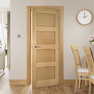 Image: Coventry Shaker Style Oak Fire Door - 1/2 Hour Fire Rated - Unfinished