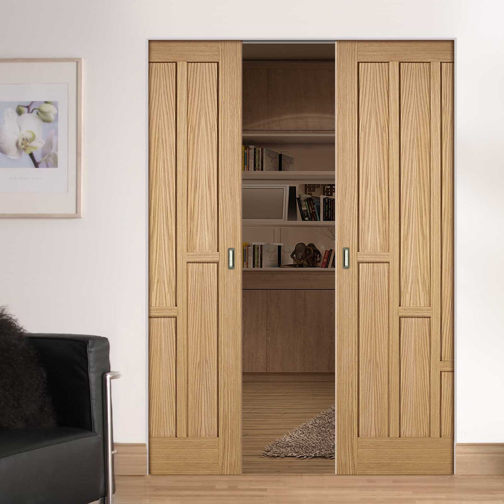 Coventry Contemporary Oak Panel Absolute Evokit Double Pocket Doors - Unfinished