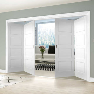 Image: Four Folding Doors & Frame Kit - Coventry Shaker 2+2 - White Primed