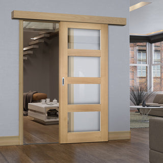 Image: Single Sliding Door & Wall Track - Coventry Shaker Style Oak Door - Clear Glass - Unfinished