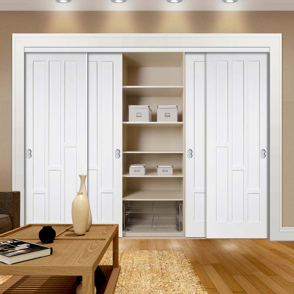 Thruslide Coventry Panel 4 Door Wardrobe and Frame Kit - White Primed