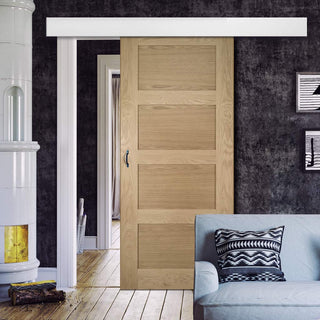 Image: Single Sliding Door & Wall Track - Coventry Shaker Style Oak Door - Unfinished