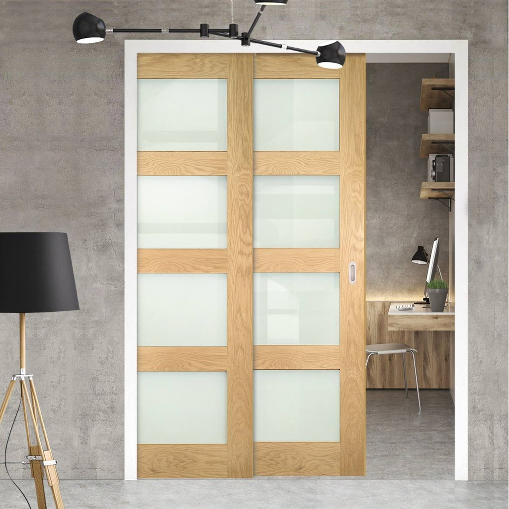 Coventry Shaker Style Oak Veneer Staffetta Twin Telescopic Pocket Doors - Frosted Glass - Unfinished