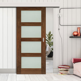 Image: Single Sliding Door & Wall Track - Coventry Prefinished Walnut Shaker Style Door - Frosted Glass