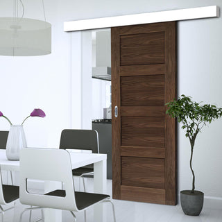 Image: Single Sliding Door & Wall Track - Coventry Prefinished Walnut Shaker Style Door