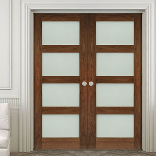 Image: Deanta Coventry Walnut Prefinished Shaker Style Door Pair with Frosted Glass