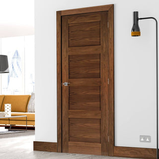 Image: Deanta Coventry Walnut Prefinished Shaker Style Door, 1/2 Hour Fire Rated