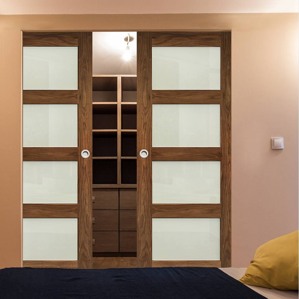 Coventry Walnut Shaker Style Absolute Evokit Double Pocket Doors - Frosted Glass - Prefinished
