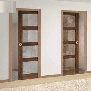 Image: Coventry Walnut Shaker Style Unico Evo Pocket Doors - Clear Glass - Prefinished