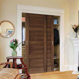 Image: Two Sliding Wardrobe Doors & Frame Kit - Coventry Prefinished Walnut Shaker Style Door