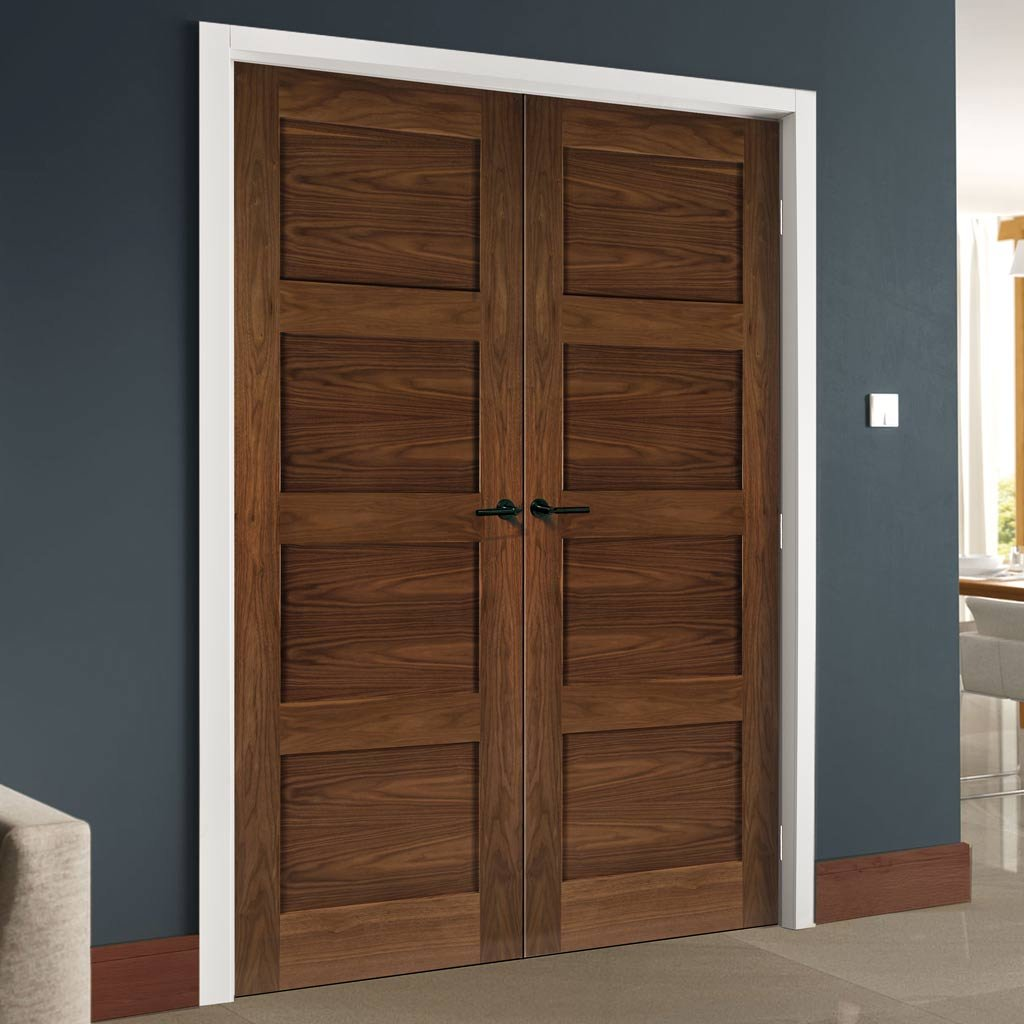 Coventry Walnut Prefinished Shaker Style Door Pair