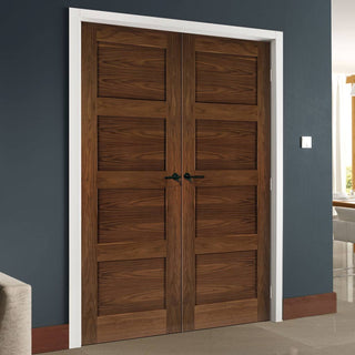 Image: Coventry Walnut Prefinished Shaker Style Door Pair