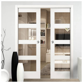 Image: Coventry Shaker Double Evokit Pocket Doors - Clear Glass - White Primed