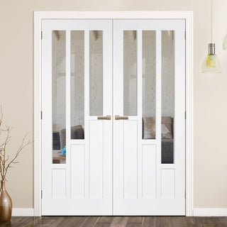 Image: Coventry White Primed Door Pair with Clear Safety Glass