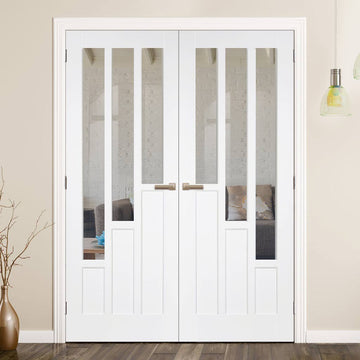 on sale 97155 ebb94 Coventry Door Pair - Clear Glass - White Primed