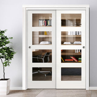 Image: Two Sliding Doors and Frame Kit - Coventry White Primed Shaker Door - Clear Glass