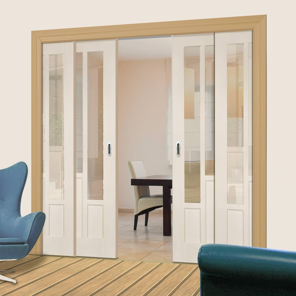 Coventry Style Staffetta Quad Telescopic Pocket Doors Clear Glass