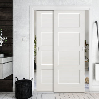Image: Two Sliding Doors and Frame Kit - Coventry White Primed Shaker Door