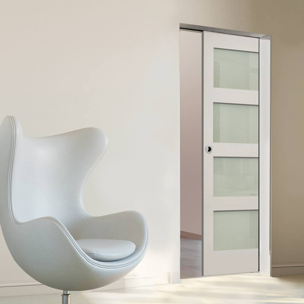 Coventry Shaker Absolute Evokit Single Pocket Door - Frosted Glass - White Primed