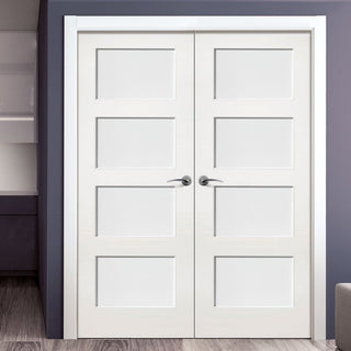 Image: Deanta Coventry White Primed Shaker Door Pair