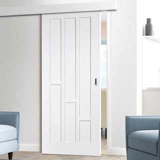 Image: Thruslide Surface Coventry Panel Sliding Door and Track Kit - White Primed