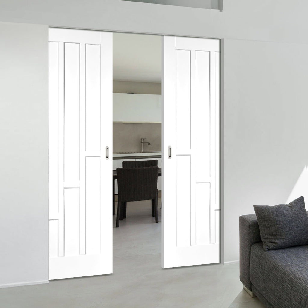 Coventry Style White Primed Panel Absolute Evokit Double Pocket Doors - White Primed