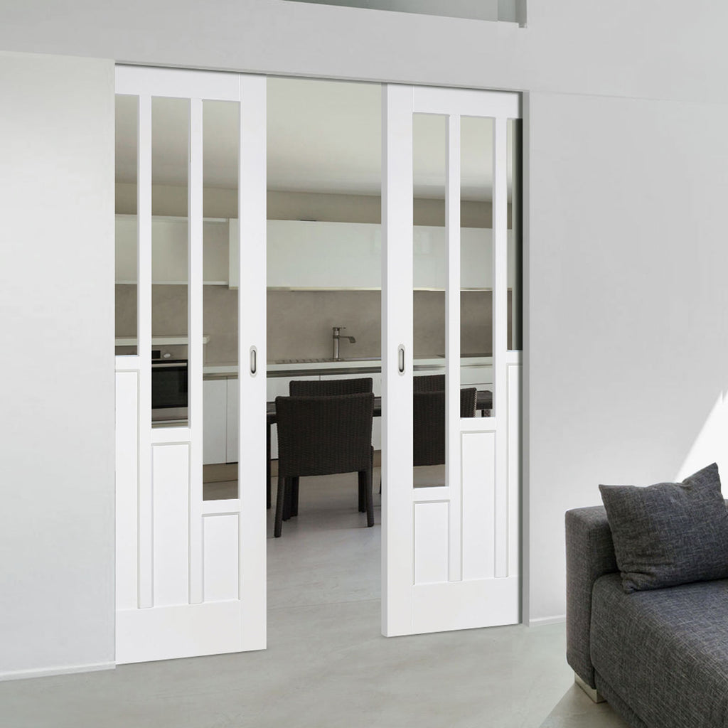 Coventry Style White Primed Absolute Evokit Double Pocket Doors - Clear Glass - White Primed