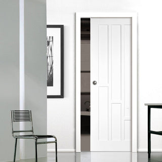 Image: Coventry Style Panel Single Evokit Pocket Door - White Primed