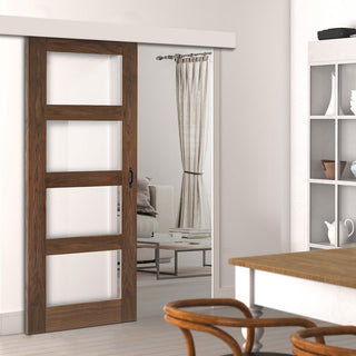 Image: Single Sliding Door & Wall Track - Coventry Prefinished Walnut Shaker Style Door - Clear Glass