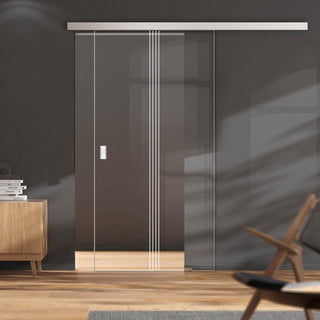 Image: Single Glass Sliding Door - Crichton 8mm Clear Glass - Obscure Printed Design - Planeo 60 Pro Kit