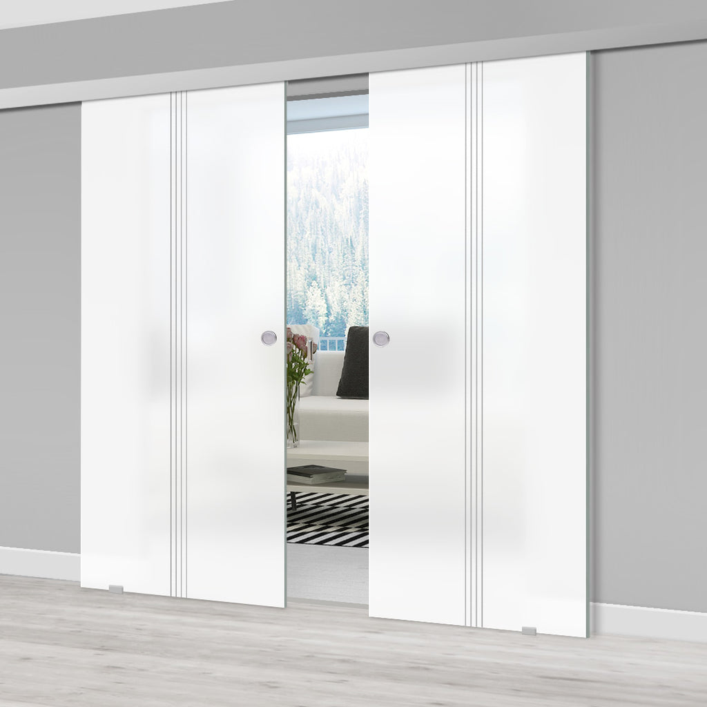 Double Glass Sliding Door - Crichton 8mm Obscure Glass - Obscure Printed Design - Planeo 60 Pro Kit
