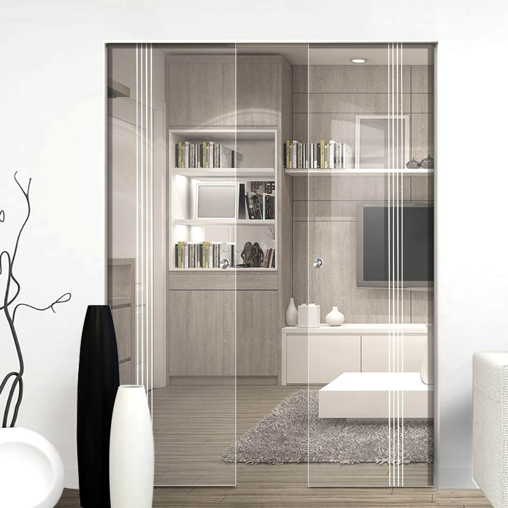 Crichton 8mm Clear Glass - Obscure Printed Design - Double Absolute Pocket Door