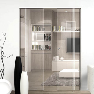 Image: Crichton 8mm Clear Glass - Obscure Printed Design - Double Absolute Pocket Door
