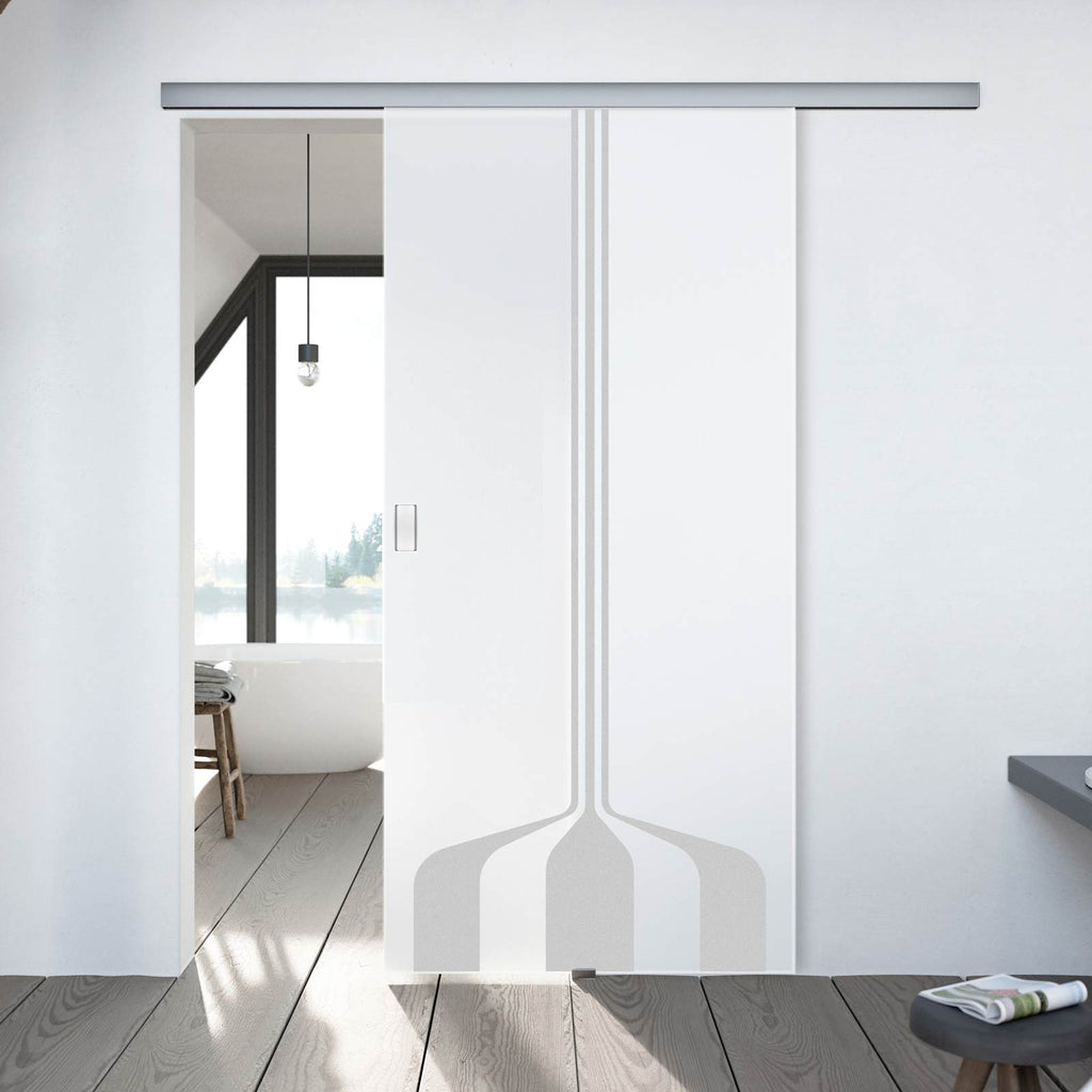 Single Glass Sliding Door - Crombie 8mm Obscure Glass - Obscure Printed Design - Planeo 60 Pro Kit